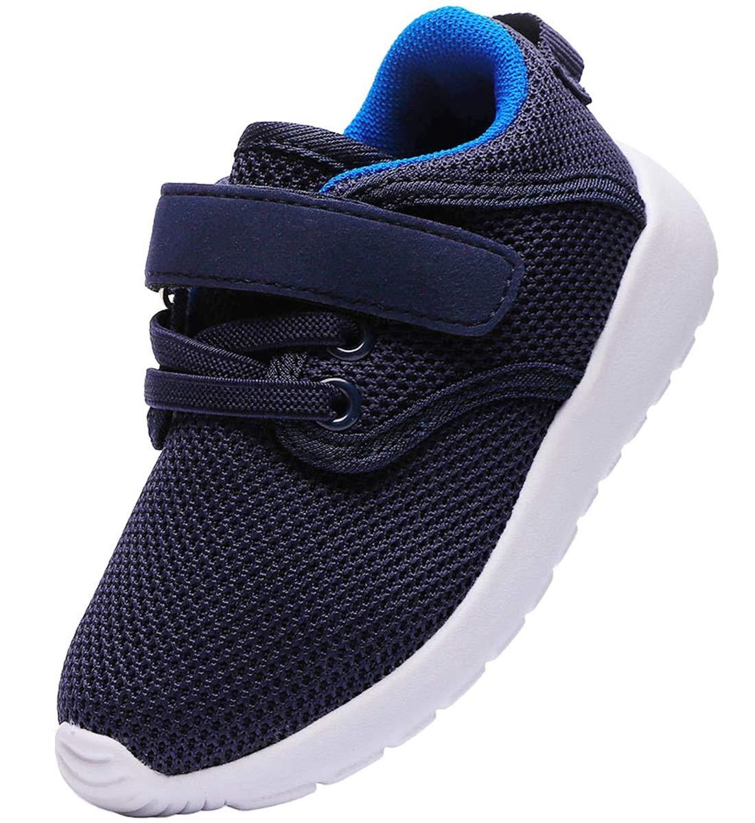 PPXID Boy's Girl's Breathable Mesh Hoop Loop Casual Sneaker Running Shoes-Blue 7.5 US Toddler