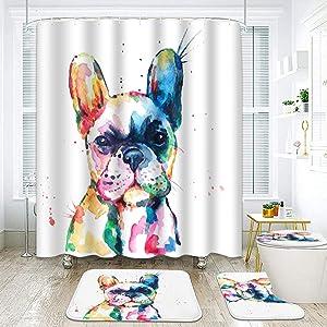 ArtSocket 4 Pcs Shower Curtain Set French Bulldog Original Watercolor Dog Vintage with Non-Slip Rugs Toilet Lid Cover and Bath Mat Bathroom Decor Set 72