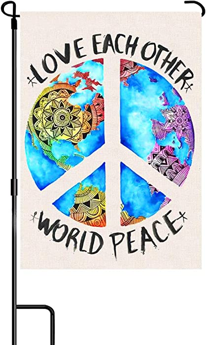 NICEN World Peace Garden Flag Unique Earth Design Love Peace Sign Flag for Outdoor Banner Decorative Burlap Double Sided Garden Flag for Yard Home Farmhouse Decor 12.5x18 Inch