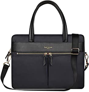 Cartinoe Fashion Women Tote Bag, PU Leather Laptop Shoulder Bag with RFID Blocking Pocket, Large Crossbody Purses for Women Business Travel Handbag Briecase Fits 14 15 inch MacBook Chromebook, Black