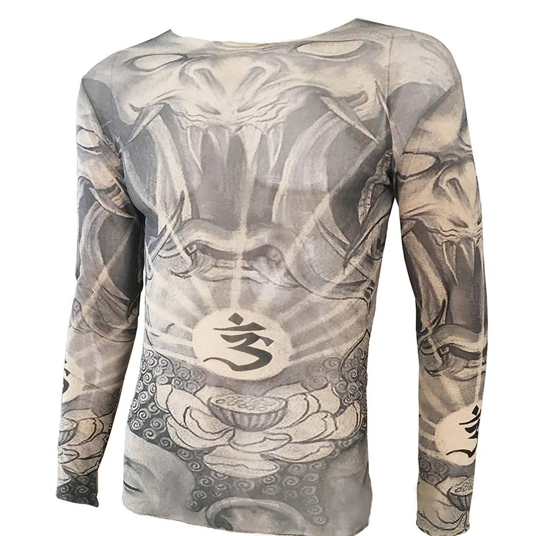 Kehuashina Wonderland Lotus Tattoo Sport T-Shirt Tattoo Tops Biker Cyclin Fitness Plus Size