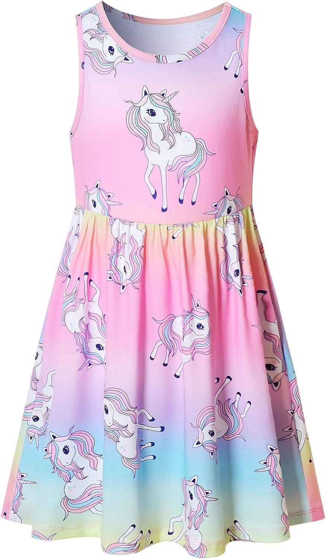 Girls Unicorn Dresses Sleeveless Summer Elastic Waist Rainbow Casual Clothes