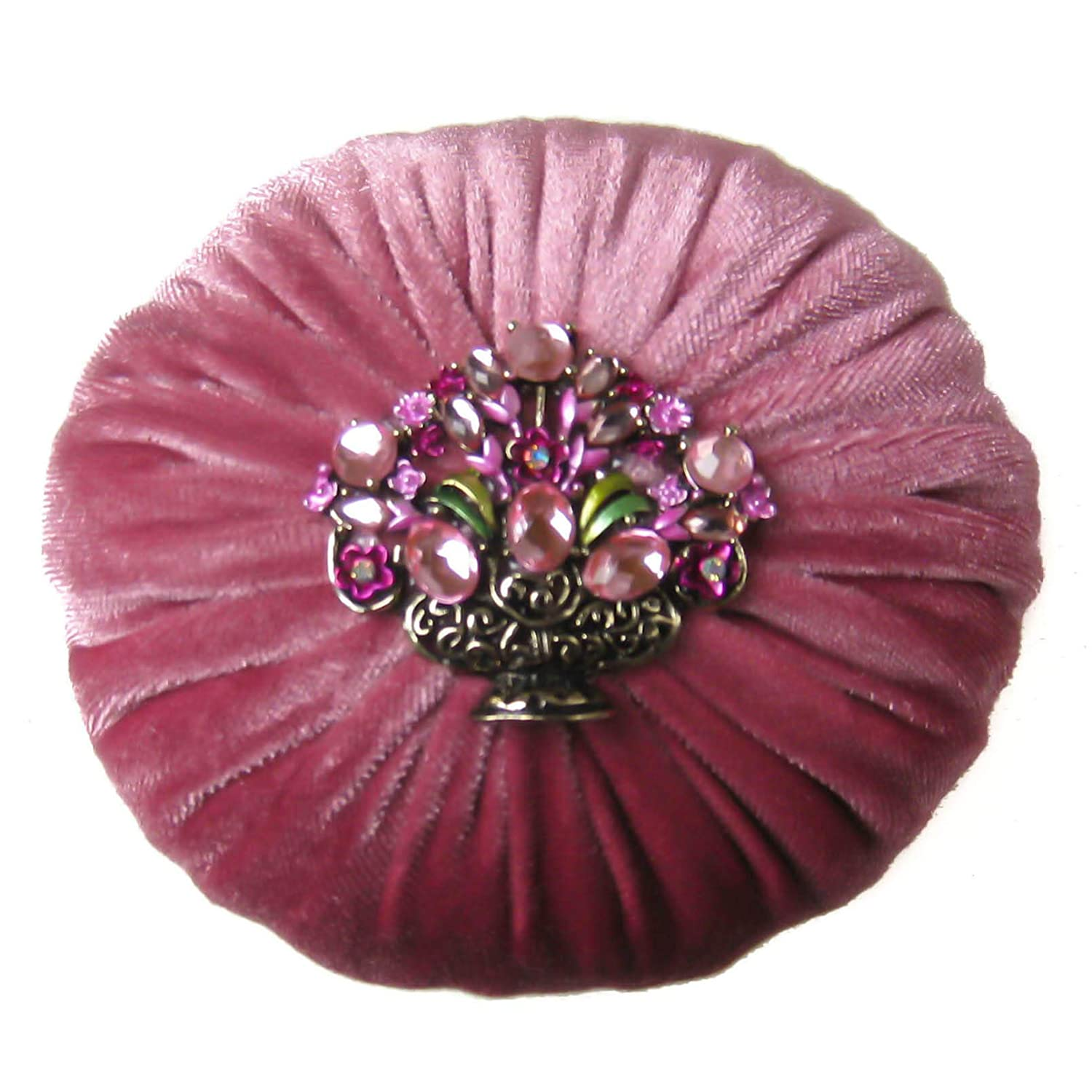 Nakpunar 4 Mauve Pink Velvet Emery Pincushion - Keep Your Needles Clean & Sharp (4, Mauve Pink) 4337009504