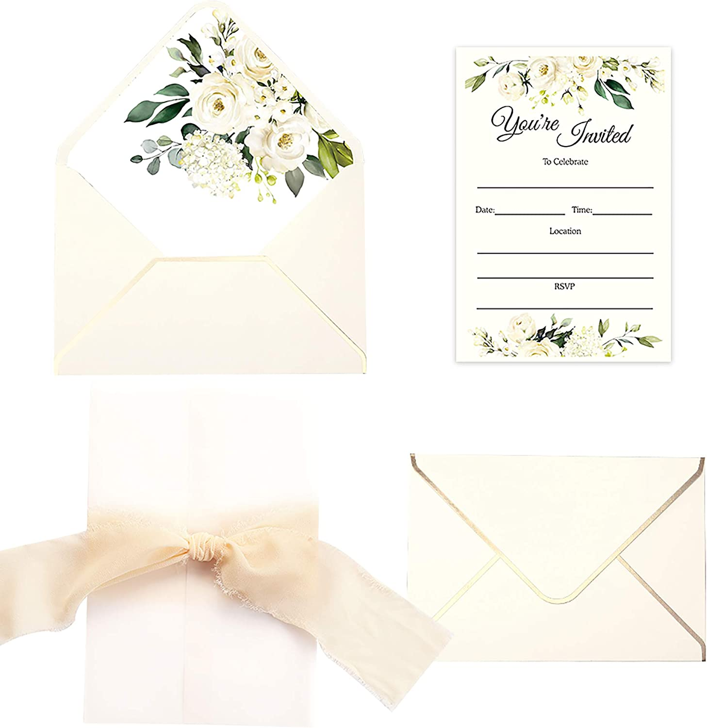 Doris Home 25pcs Fill in Invitations with White Rose Design, Cream Envelopes and Cream Ribbon for Wedding Bridal Shower Baby Shower Birthday Party