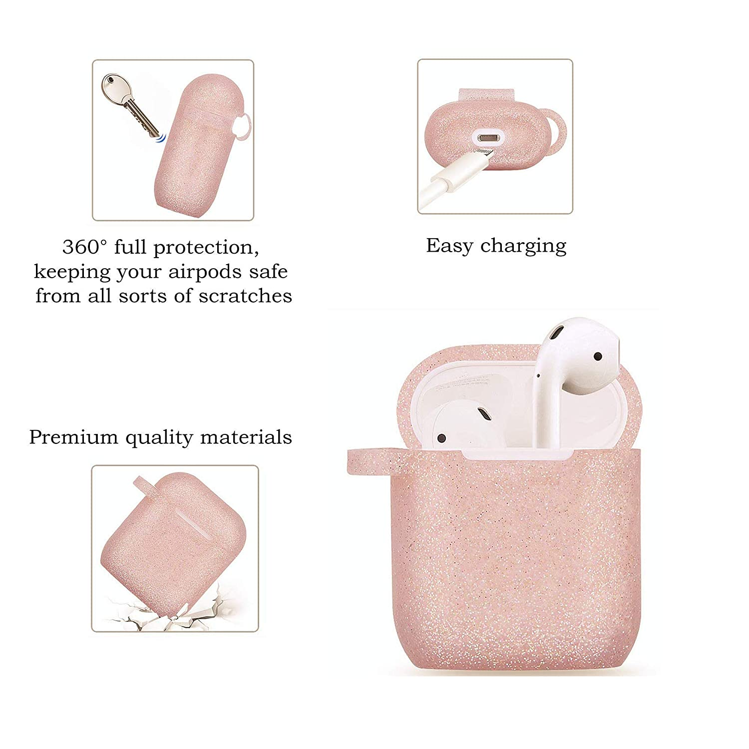 Pink Airpods Case with Cute Fur Ball Keychain Protective Case Cover Silicone Skin for Apple Airpods 2 /& 1 with Pom Pom