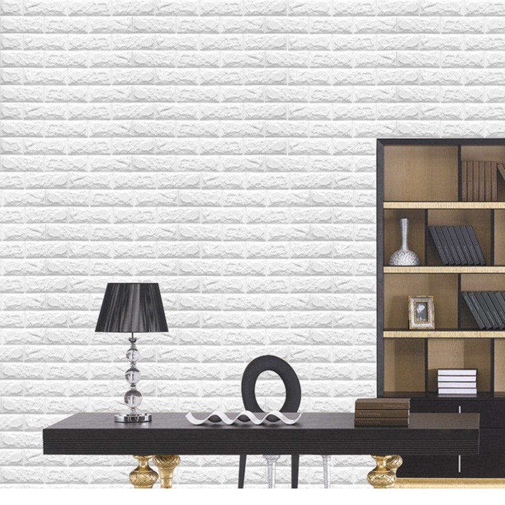 Amazoncom 20Pcs 3D Brick Wall Stickers Self Adhesive Panel Decal