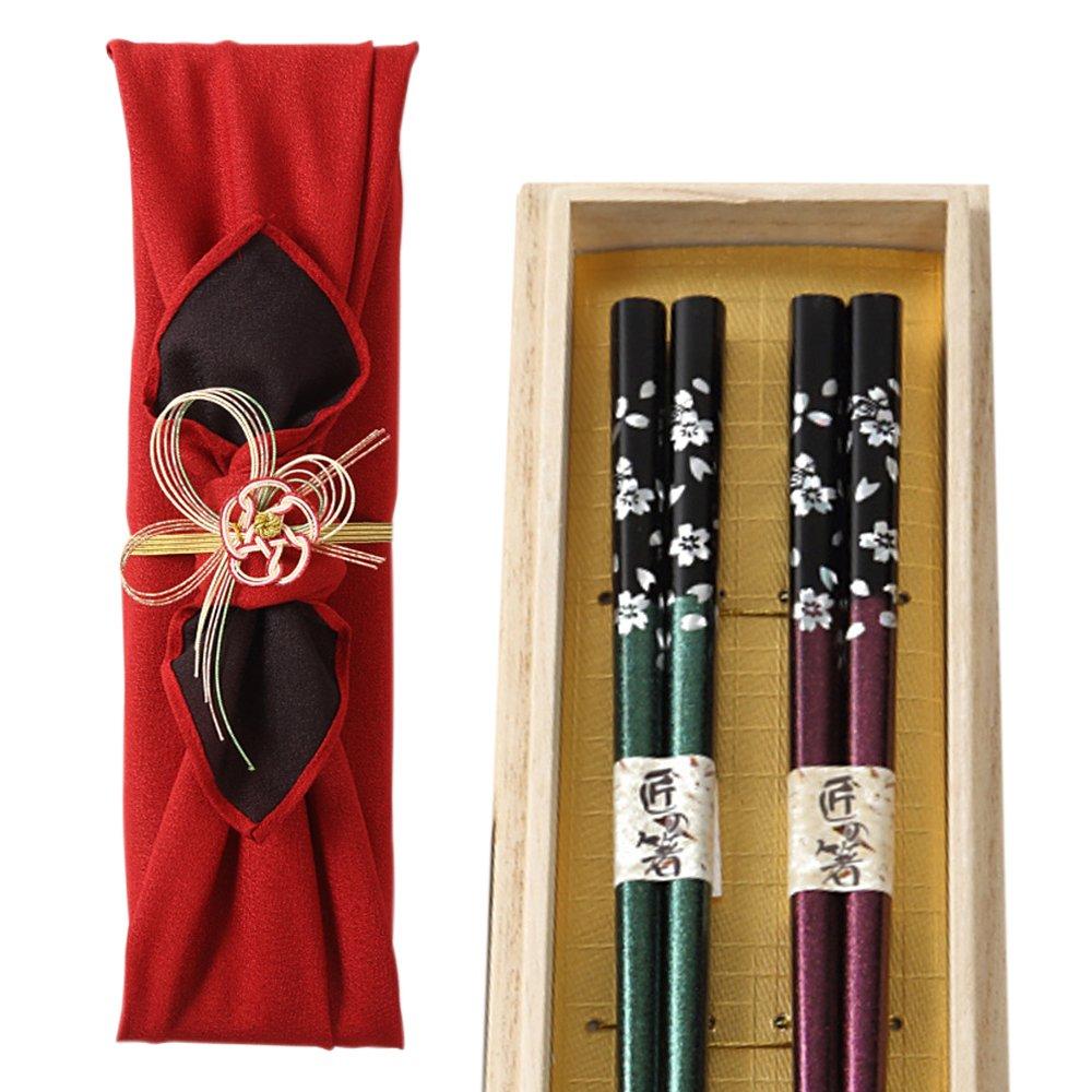 銀桜花の夫婦箸