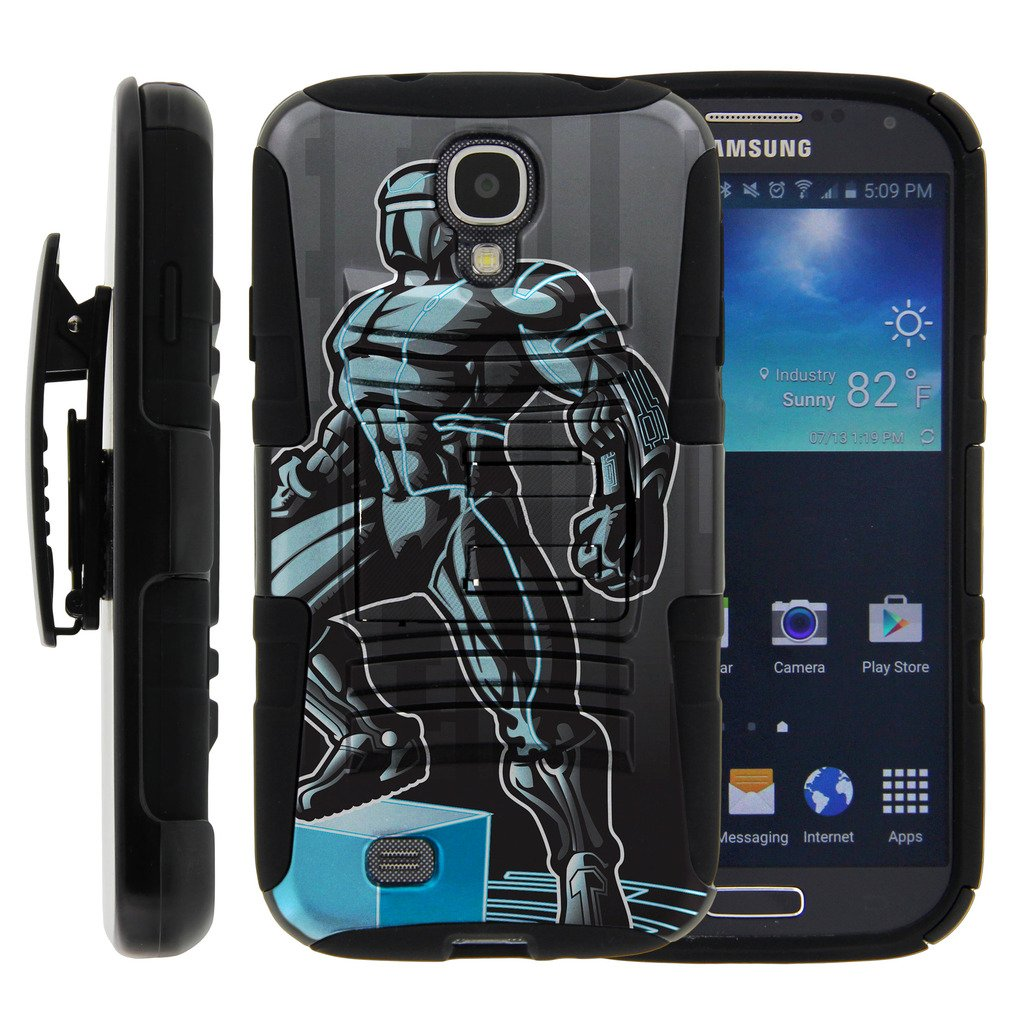 TurtleArmor | Compatible for Samsung Galaxy S4 Case | I9500 [Hyper Shock] Armor Rugged Solid Hybrid Cover Kickstand Impact Silicone Belt Clip Holster Robot Android Design - Android Man