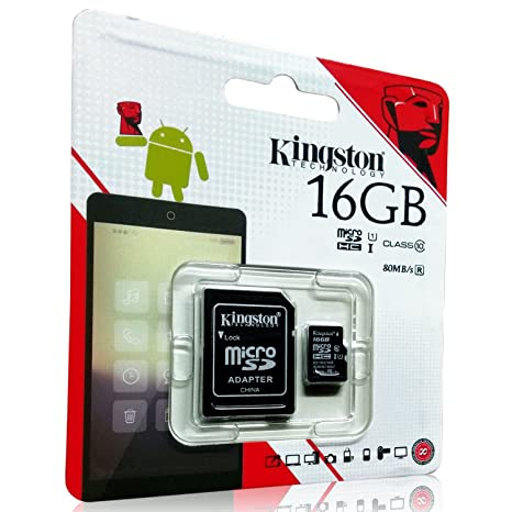 Kingston 16GB Class 10 Memory Card with Adapter (High Speed OF 80 Mb/s) Micro SD Cards at amazon
