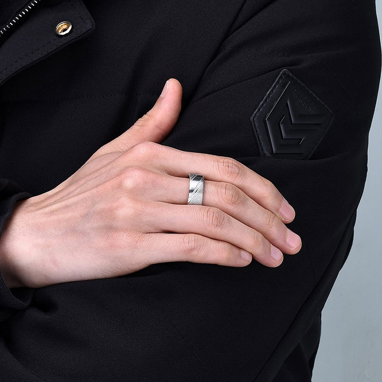 Three Keys Jewelry 8mm Damascus Steel Mens Wedding Ring Flat Wood ...