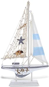 CoTa Global Moonlight Wood Sailboat Model Nautical Decor 12.5 Inch, Wooden Rustic Coastal Decor Sailboat, Table Top Accents & Shelf Model Boat Beach Decorations for Home, Ocean Party Boat Centerpiece