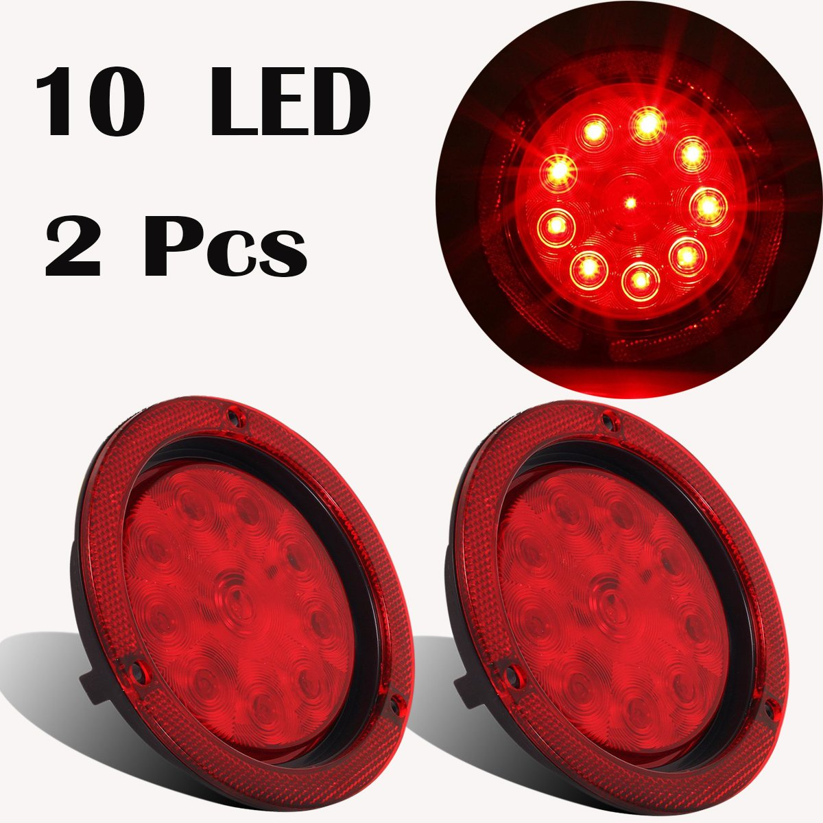 Nirananda 12V Universal 4' Red LED Stop Tail Turn Truck and Trailer Brake Lights Repeaters