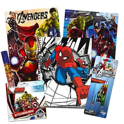 Marvel Avengers School Supplies Value Pack -- 9 Pcs (2 Notebooks, 2 Folders, 2 Pencils, Notepad, Pencil Sharpener, Eraser)