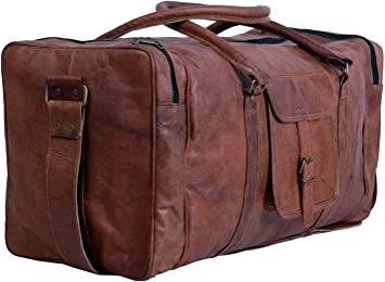 """genuine Leather luggage gym weekend overnight Duffle bag large vintage 24/"""" inch"""