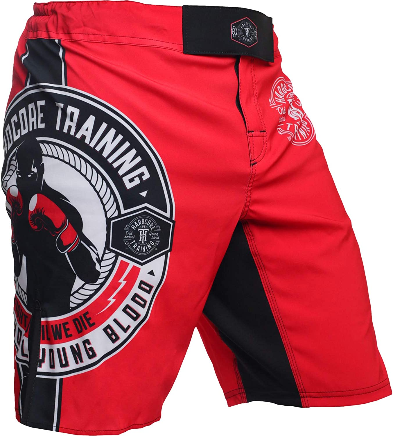 Hardcore Training Fight Shorts Men's Round Boxing MMA BJJ Fitness Crossfit Muay Thai No Gi 71APwqf5GzL