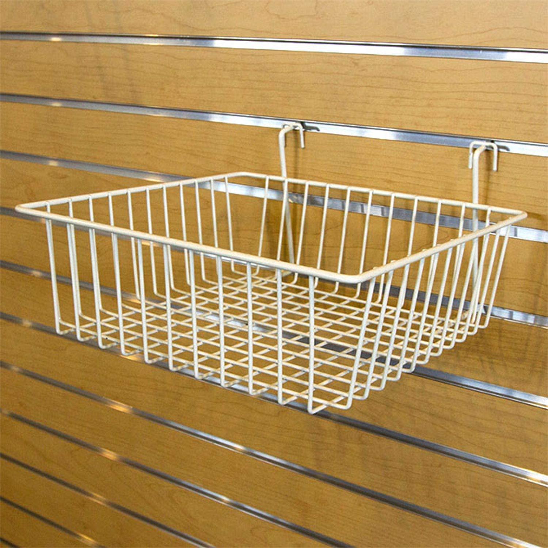 Multi Basket Slatwall Gridwall Pegboard Slatgrid 12 W x 12D x 4H Retail Display Fixture White Lot of 6 New