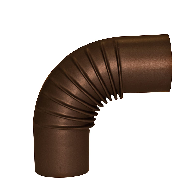 Tuyau de Po/êle Coude Sans Porte R/ésistant aux Temp/ératures jusqu/'/à 300/°C Conforme /à la Norme EN 1856-2 Kamino-Flam Coude /à 90/° Pliss/é en Acier /Émaill/é Marron /Ø 120 mm