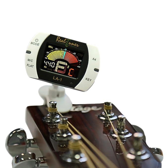 Afinador de guitarra de clip cromático para guitarra, bajo, violín, ukelele, banjo, instrumentos de viento, pantalla brillante a todo color, ...