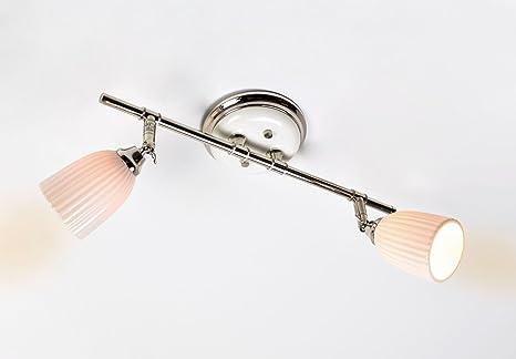 LED Deckenleuchte 2er Spot DecoMode Valencia 5264303 Innenleuchte  Spotbalken Strahler Lampe Metall Keramik Nickel Weiß 2x