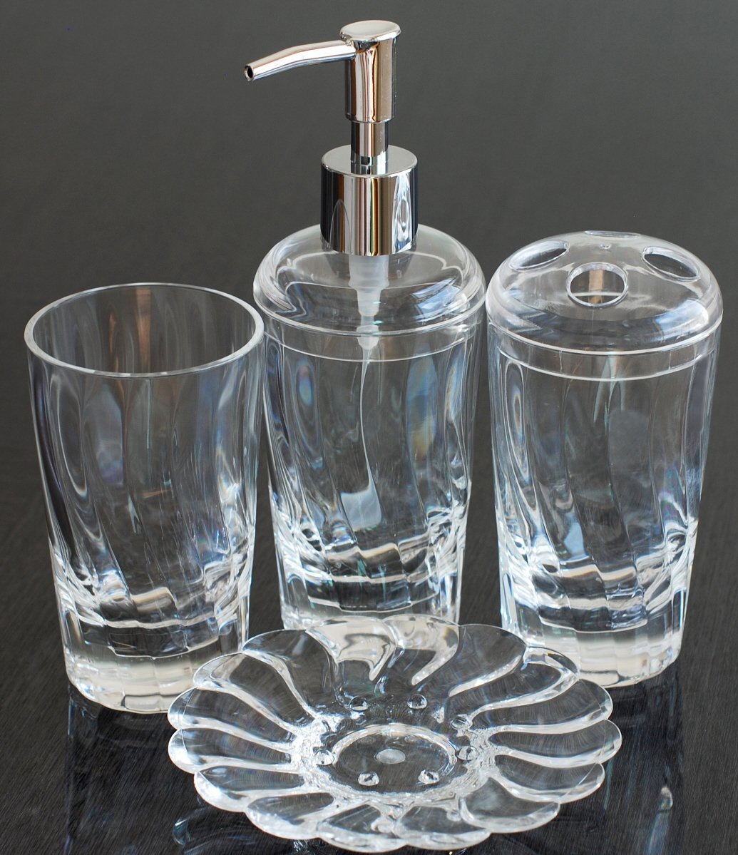 GQ QG 4 pc Crystal Clear Acrylic Plastic Twist Bathroom Accessory Set - Lotion Dispenser, Toothbrush Holder, Soap Dish, Tumbler BTTW-CL - Made from acrylic to provide glass-like clarity and greater durability. Soap/Lotion Dispenser with Chrome Finish Pump Head. Mouth Diameter of Toothbrush Holder: 2-7/8 inch. - bathroom-accessory-sets, bathroom-accessories, bathroom - 71APydd8DRL -