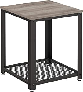 VASAGLE Side Table, Industrial End Table, Coffee Table, with Metal Frame, Easy to Put Together, for Living Room, Bedroom, Kitchen, Greige and Grey ULET041B02