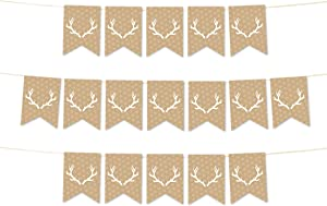Andaz Press Hanging Pennant Party Banner with String, Tan Deer Antlers, 9-Feet, 1-Set, Decor Paper Decorations, Includes String
