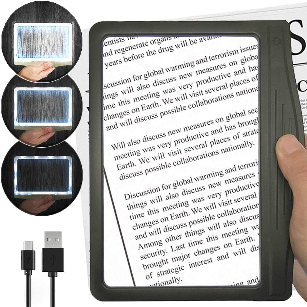 [Rechargeable] 3X Large Ultra Bright LED Page Magnifier with 12 Anti-Glare Dimmable LEDs (More Evenly Lit Viewing Area & Relieve Eye Strain)-Ideal for Reading Small Prints & Low Vision