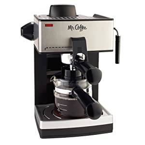 4. Mr. Coffee 4-Cup Steam Espresso System with Milk Frother, ECM160-RB