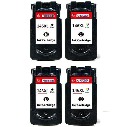 hotcolor 4 Pack para Canon pg-145 X L negro cl-146 X L color ...