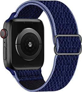 OHCBOOGIE Stretchy Solo Loop Strap Compatible with Apple Watch Bands 38mm 40mm 42mm 44mm ,Adjustable Stretch Braided Sport Elastics Weave Nylon Women Men Wristband Compatible with iWatch Series 6/5/4/3/2/1 SE,Navy Blue,38/40mm