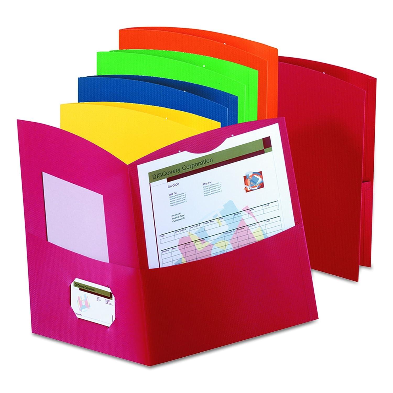 Oxford 50625-00 Contorno de dos bolsillos de carpeta-150-Sheet-Capacidad Assorted Colors: Amazon.es: Juguetes y juegos