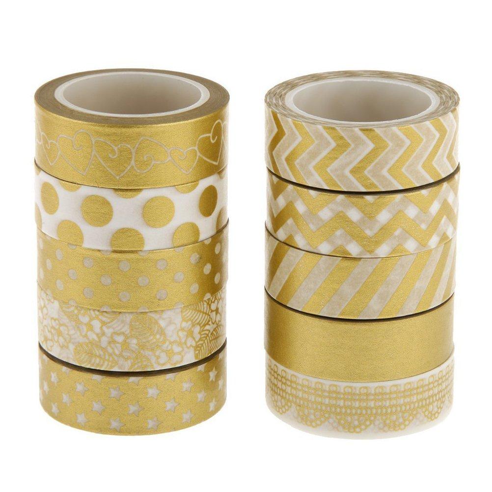 WINOMO 10pcs Gold Washi Klebrigen Papier Maske Klebeband Scrapbooking DIY