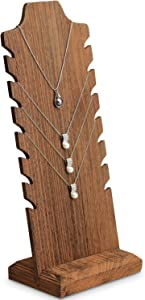 Mooca Lightweight Wooden Freestanding Necklace Easel Display Stand Holder Multiple Necklace Bust, Brown