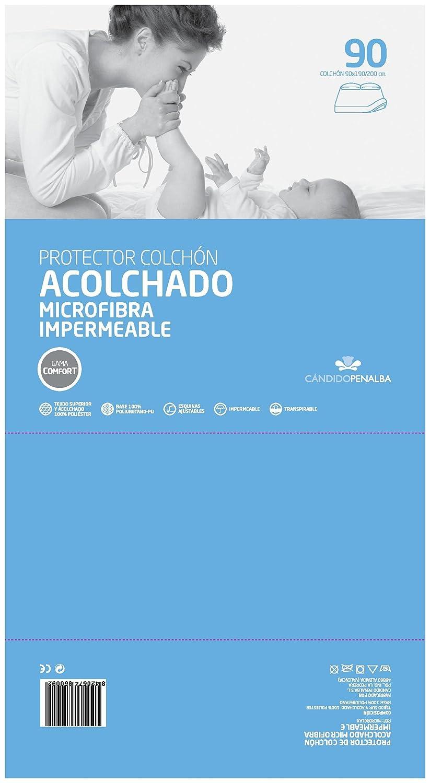 Blanco Individual C/ándido Penalba DH Microrelax Protector de Colch/ón Acolchado Poli/éster 190 x 90 x 30 cm