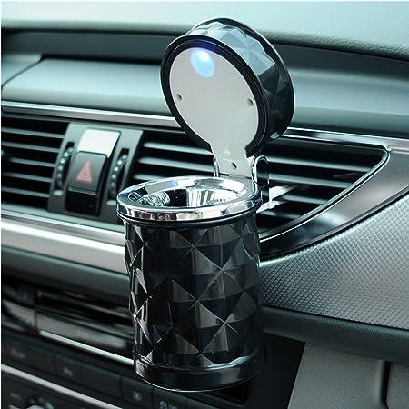 Cenicero portátil con LED para automóvil con tapa, diseño de ...
