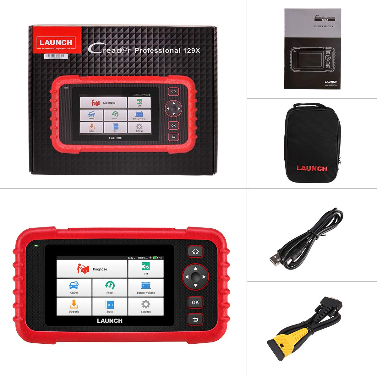 LAUNCH OBD2 Scanner CRP129X Code Reader ABS SRS Transmission Engine Scan  Tool Oil Reset, EPB/SAS/TPMS Reset and Throttle Matching Android Based WiFi