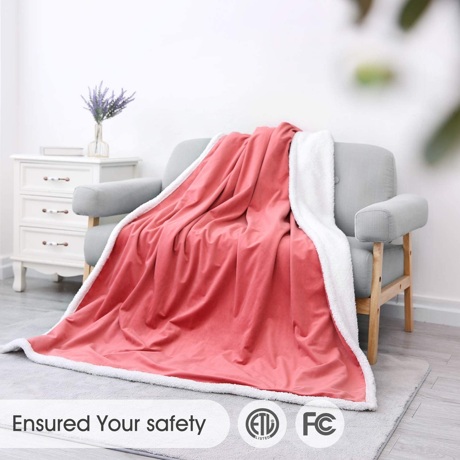 "Heated Blanket Electric Throws Lightweight Soft Double-Layer Plush Blanket, 3 Heat Settings, Fast Heating, 2H Auto Off, 50"" x 60"" Pink, Travel Home Office Use, Machine Washable: Kitchen & Dining"