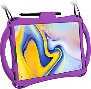 TopEsct Samsung Galaxy Tab S4 10.5 Case for Kids, Shockproof Handle Stand Cover for Samsung Tab S4 10.5(2018) Model SM-T830/T835/T837, Built-in S Pen Holder (Purple)