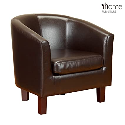 Super 1Home Bonded Leather Tub Chair Armchair For Dining Living Room Office Reception Brown Squirreltailoven Fun Painted Chair Ideas Images Squirreltailovenorg