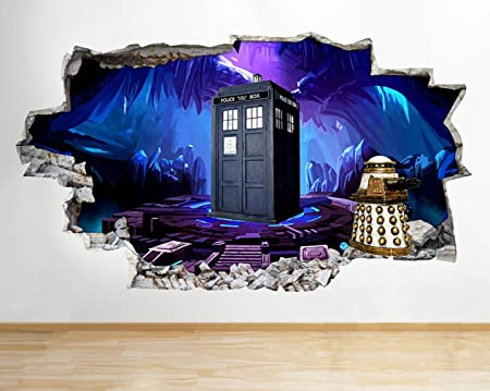 J967 Doctor Who Dalek Tardis Cool Smashed Wall Decal 3D Art Stickers Vinyl  Room Kids Bedroom