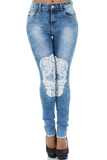 Malucas Damen High Waist Jeans Hose Röhrenjeans Röhrenhose Skinny Slim Fit Stretch 414