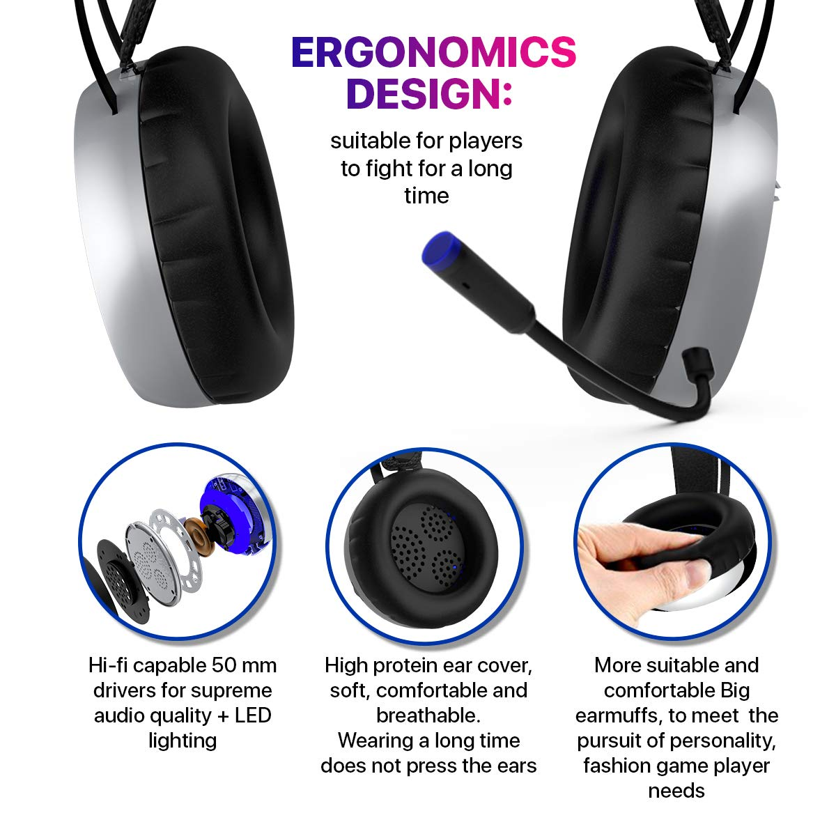 [Newest 2019] Gaming Headset for Xbox One, S, PS4, PC with LED Soft Breathing Earmuffs, Adjustable Microphone, Comfortable Mute & Volume Control, 3.5mm Adapter for Laptop, PS3, Nintendo by TBI Pro (Image #4)