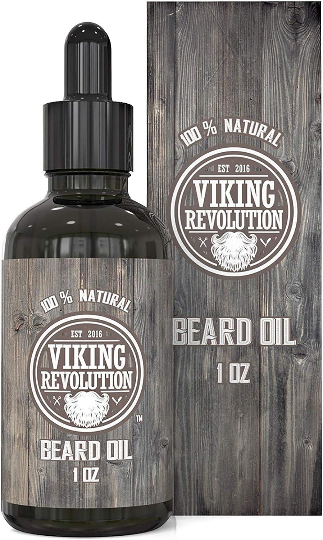 Viking Revolution Beard Oil Conditioner - All Natural Unscented Organic Argan & Jojoba Oils – Softens, Smooths & Strengthens Beard Growth – Grooming Beard and Mustache Maintenance Treatment, 1 Pack