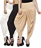 Fashion And Freedom Women's Pack of 3 White, Cream And Black Viscose Dhoti