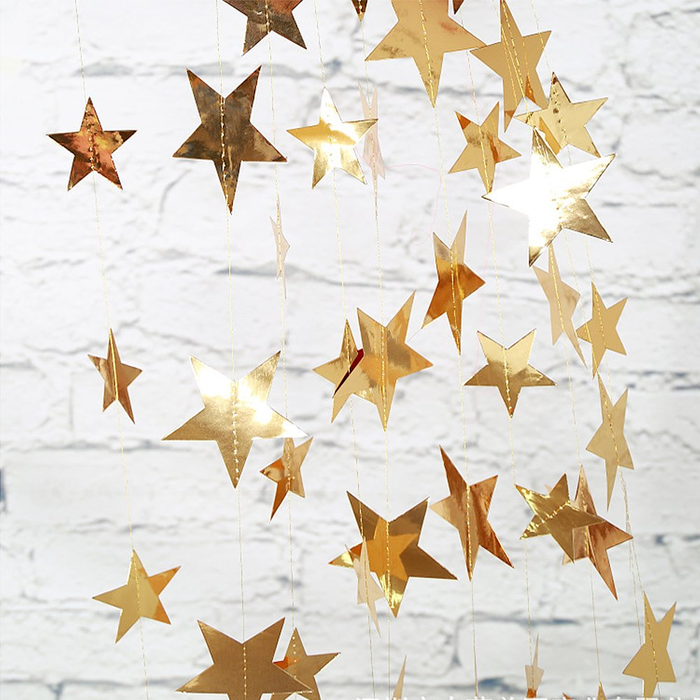 Sequins Paper Star String Banner Bunting Hanging Decoration for Wedding Party Christmas 2 Pack CASA