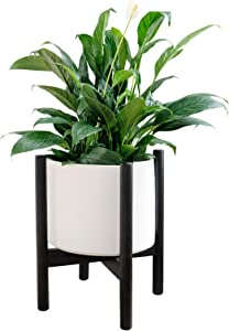 TIMEYARD Mid Century Plant Stand - Up to 10'' Flower Pot Wood Indoor Planter Holder, Modern Home Décor, Black (Planter Not Included)
