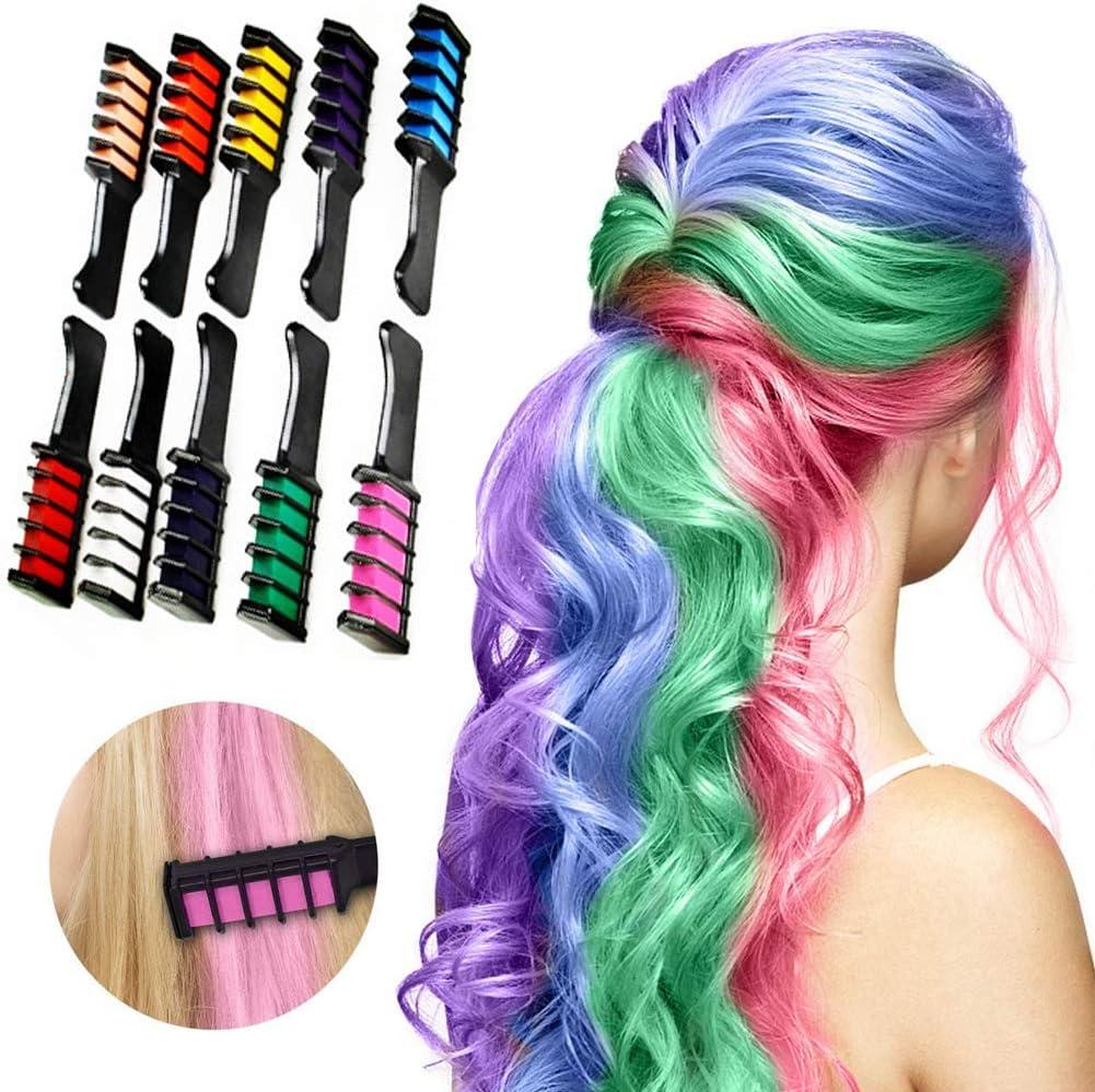 Peine de tiza para el pelo, 10 unidades, color temporal ...