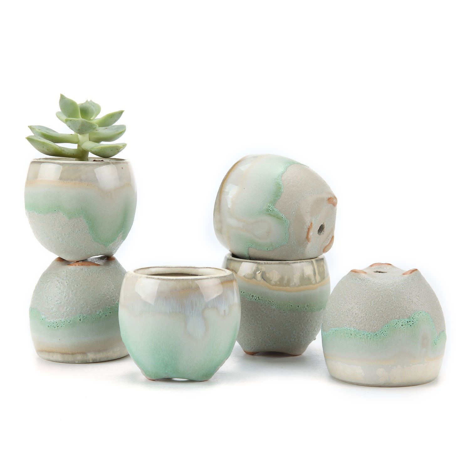 T4U 2.5 Inch Ceramic Flowing Glaze Solid Gray Base Serial Straight Mouth Shape Succulent Plant Pot/Cactus Plant Pot Flower Pot/Container/Planter Package 1 Pack of 6 by T4U