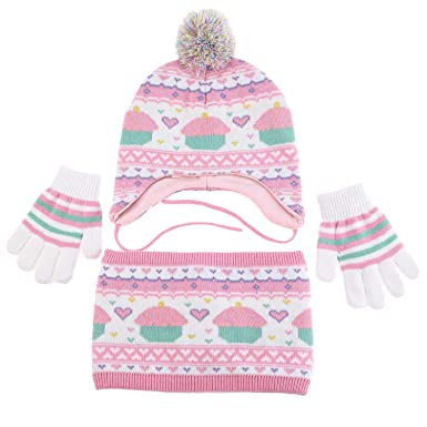 e124d95c8a40e Girls Hat Scarf 100% Cotton Knit Pom Pom Earflap Hats Winter Warm Kids  Gloves Sherpa