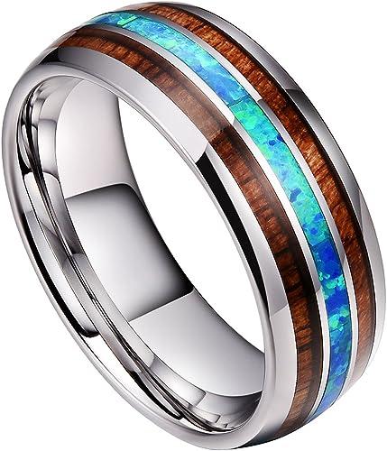 Doux 8mm Mens Tungsten Carbide Wedding Ring Real Blue Opal Koa